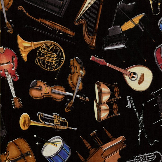 Dan Morris, Perfect Pitch, Musical Instruments Fabric on Black - By the Yard