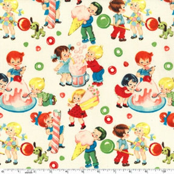 Michael Miller Candy Shop Cream Fabric - By the Yard