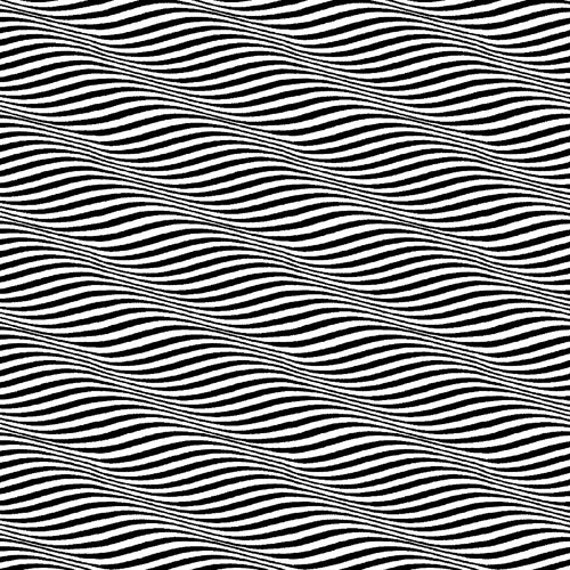 Op Art II, Waves Black Natural Fabric - By the Yard
