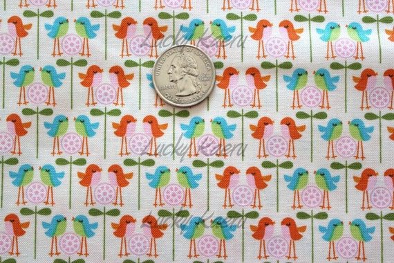 Deena Rutter for Riley Blake Designs, Happier, Birds White Fabric - By the Yard