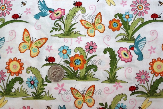 Deb Strain, Meadow Friends, Girl, Birds and Butterflies Cloud White Fabric - Half Yard (Last One)