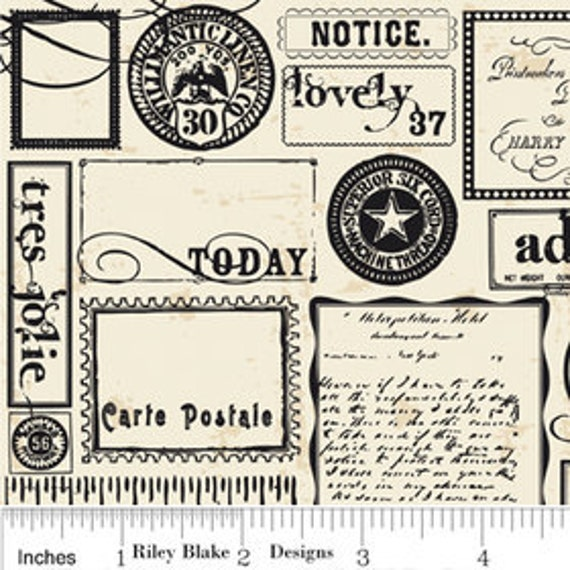 Riley Blake Designs, Lost and Found, Labels Cream Fabric - By the Yard