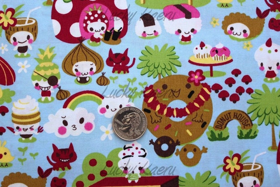 Kawaii Donuts and Ice Cream Friends Blue Fabric - By the Yard