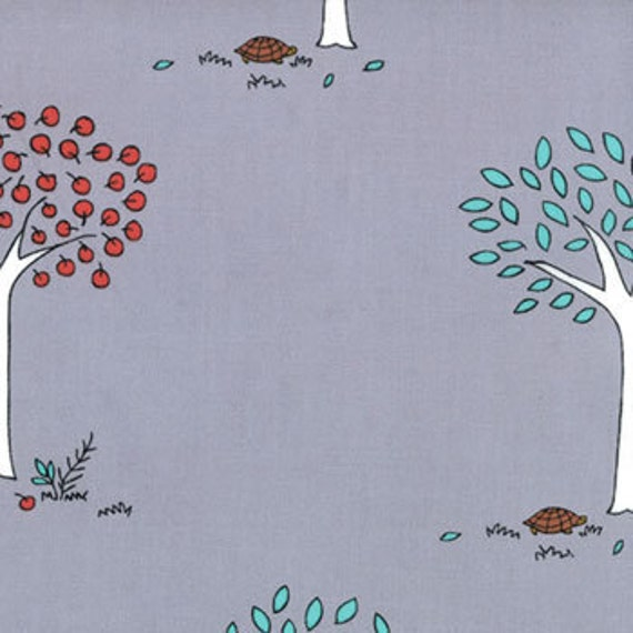 Aneela Hoey,  Little Apples, Apple Tree Pencil Grey Fabric - By the Yard