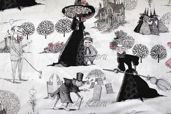 Alexander Henry, Ghastlies, The Ghastlies on Light Tea Fabric - By the Yard