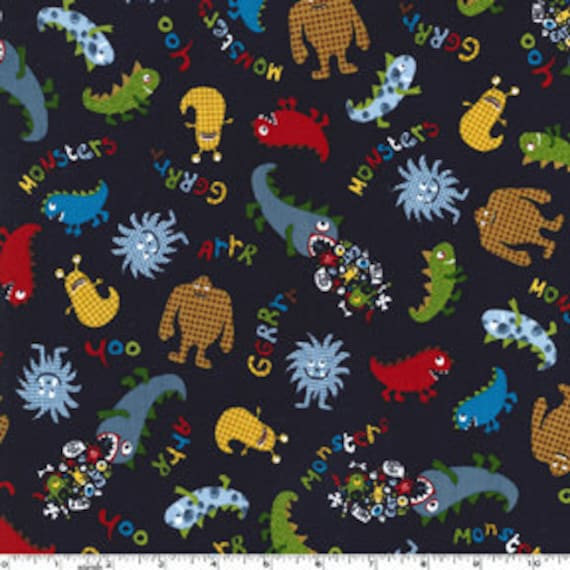 Michael Miller Monsters Fabric in Navy - By the Yard