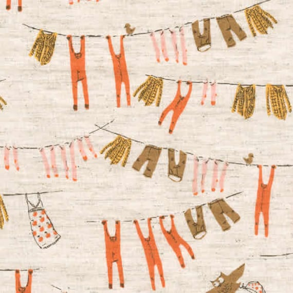Heather Ross Far Far Away III - Clothesline Natural Brown  Fabric - Half Yard