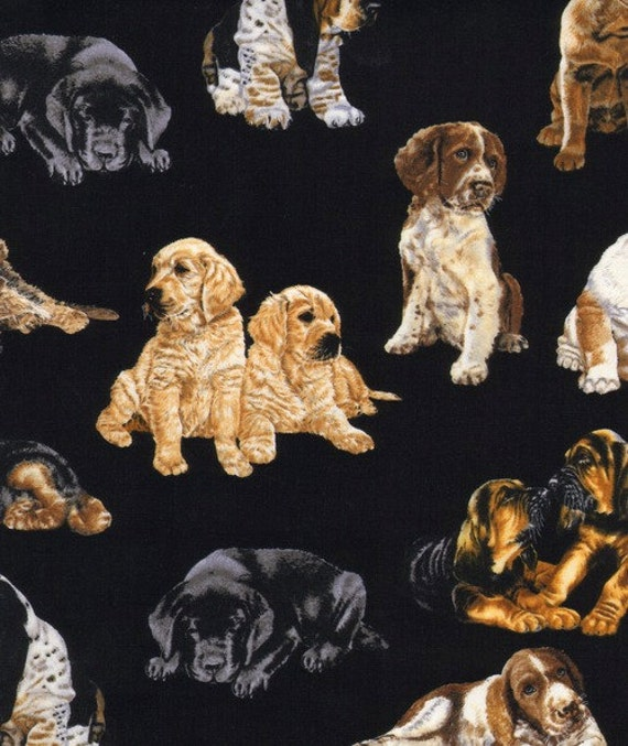 Allover Dogs on Black Fabric - By the Yard