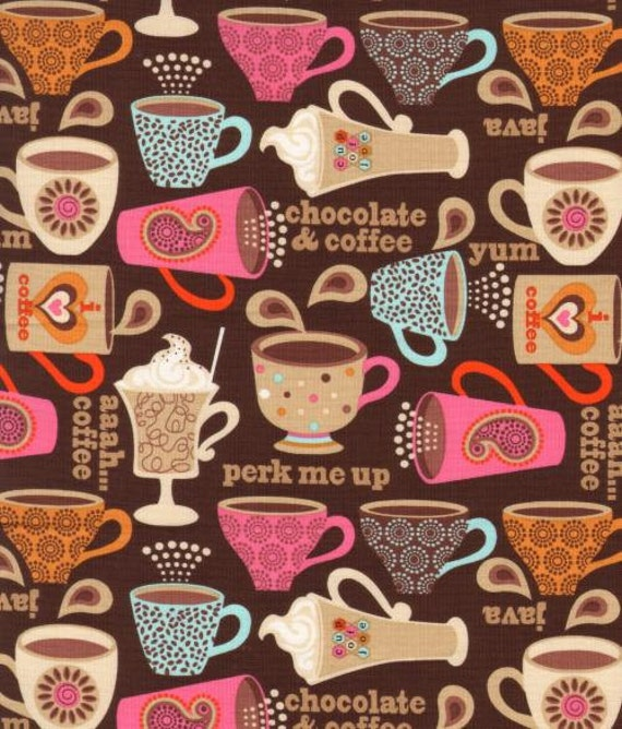 Wendy Bentley, Perk Me Up, Coffee Cups Brown Fabric - By the Yard