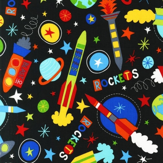 Lesley grainger launch rockets black fabric by for Rocket fabric