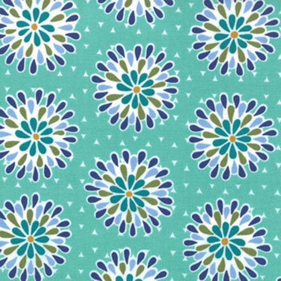 Liesl Gibson, Oliver S, Cape Ann, Floral Chrysanthemum Swirl Aqua Fabric - By the Yard