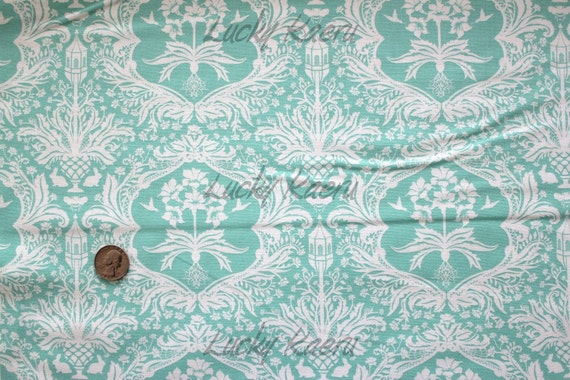 Lauren and Jessi Jung, Flora, Garden Damask Turquoise Fabric - By the Yard