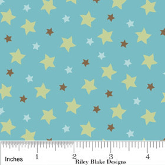 Riley Blake Designs, Mod Tod, Stars in Blue Fabric - Reserved for XcessRize