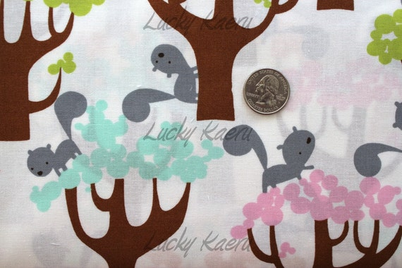 NEW David Walker, Get Together, Squirrel and Trees Sorbet  Fabric - By the Yard
