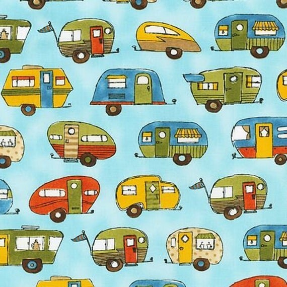 Ronnie Walker, On The Road, Trailers on Aqua Fabric - Remnant Size 29 Inches by 44 Inches