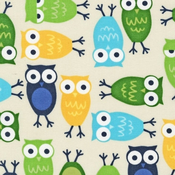 Ann Kelle Cool Cords Owls in Lagoon Fabric - By the Yard