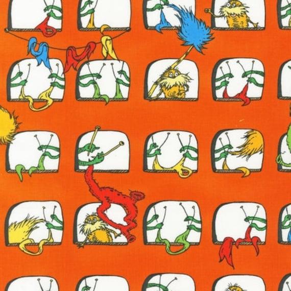 NEW Dr. Seuss, The Lorax, Windows Bright Organic Cotton Fabric - By the Yard