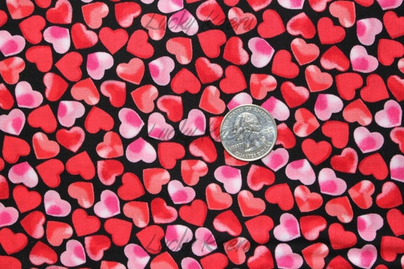 Hearts on Black Fabric - By the Yard