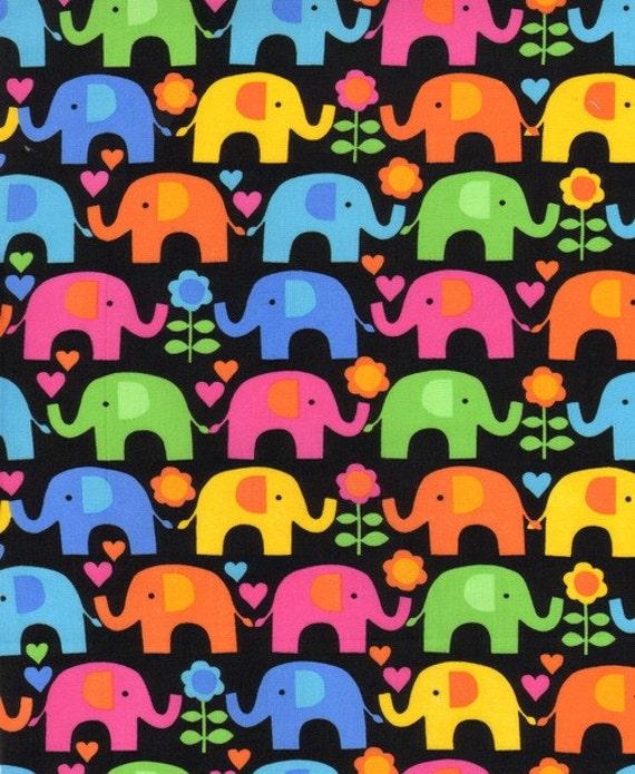 Elephants on Parade, Elephants and Flowers Black Fabric - By the Yard