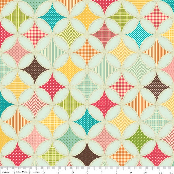NEW Riley Blake Designs, Fly A Kite, Ice Cream Designer Cloth Teal Fabric - By the Yard
