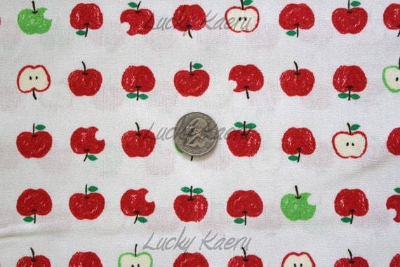 Red and Green Apples Japanese Fabric - Half Yard