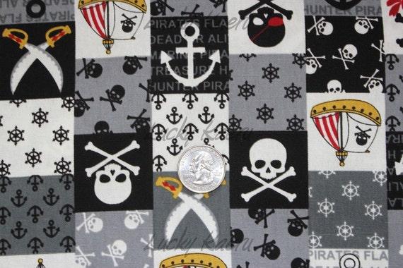 Pirate Skull Patchwork Black/Gray Japanese Fabric - Half Yard