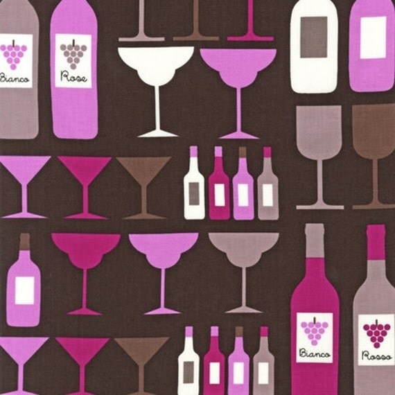 Print & Pattern, Cheers, Wine Bottles and Glasses Wineberry Fabric - By the Yard