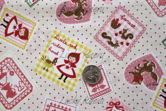 Kawaii Fairytale Little Red Ridinghood Stamp on Cream Japanese Fabric - Half Yard