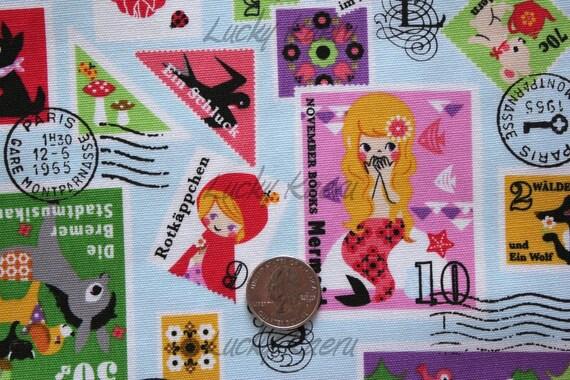 Fairytale Stamps on Blue Japanese Fabric - Half Yard