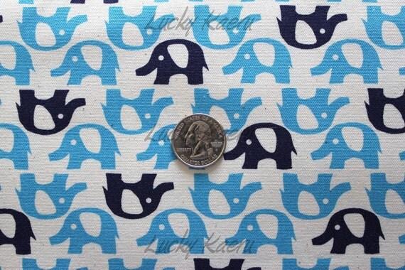 Cute Elephant Rows (Blue) Japanese Fabric - Half Yard