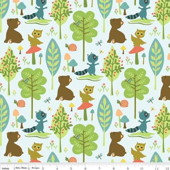 NEW Riley Blake Designs, Woodland Tails, Bear Blue Fabric - By the Yard