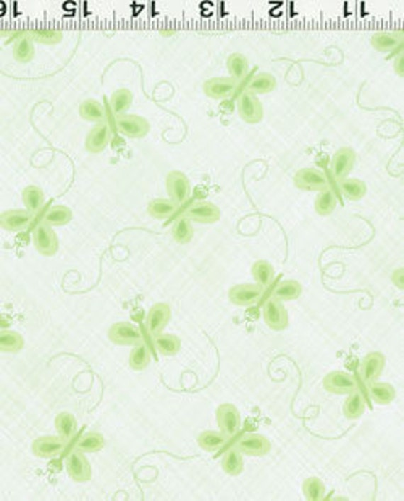SALE Ellen Crimi-Trent, Critters, Butterfly Tonal Green Fabric - By the Yard