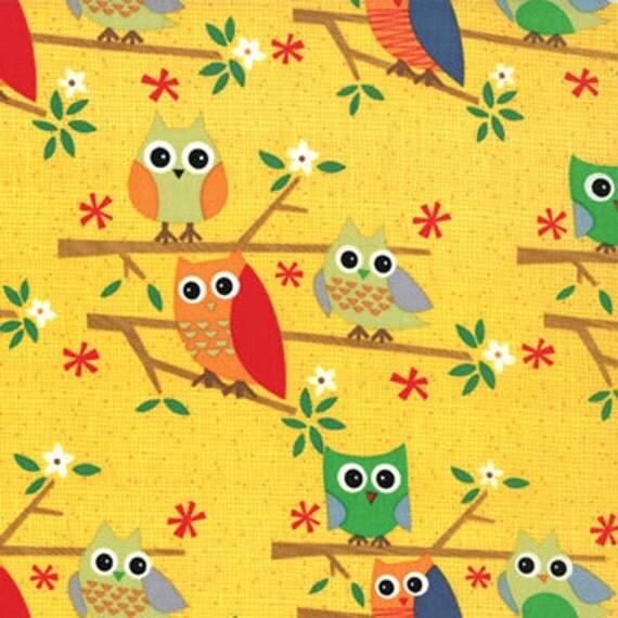 NEW Jenn Ski,  Ten Little Things, Owls Yellow Fabric - By the Yard