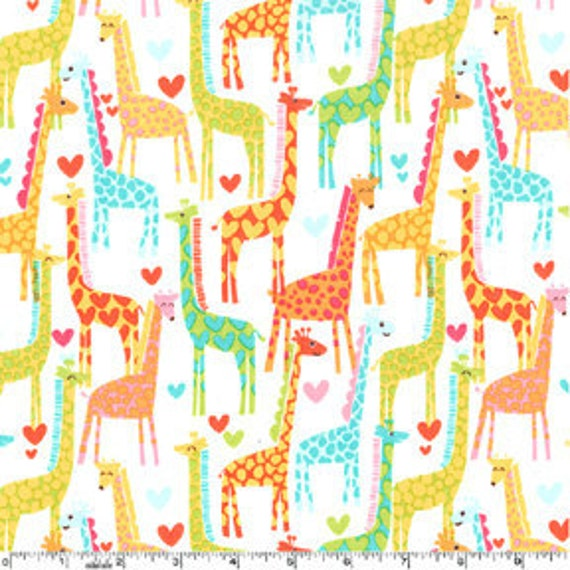 Michael Miller Giraffe Love White Fabric - By the Yard