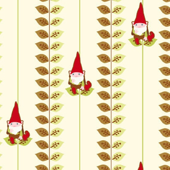 NEW Heather DuPont, Better Gnomes and Gardens, Leaf Gnome Stripe Brown Cotton Fabric - By the Yard
