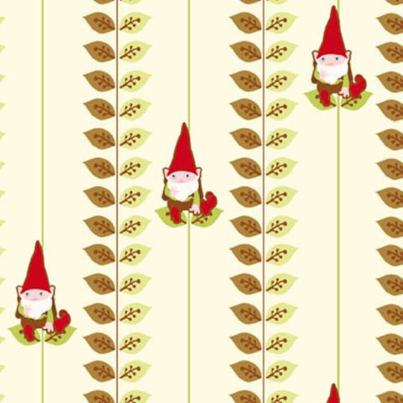 Heather DuPont, Better Gnomes and Gardens, Leaf Gnome Stripe Brown Cotton Fabric - By the Yard