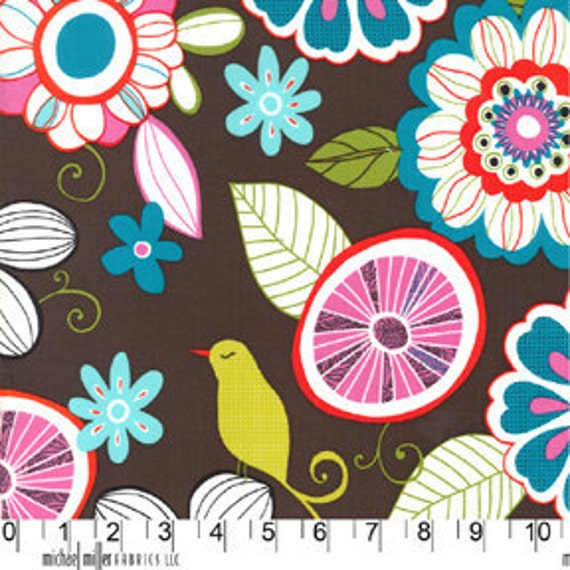 NEW Michael Miller, Tweet Birdie Tweet Cocoa Fabric- By the Yard
