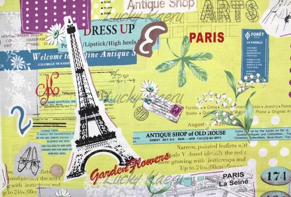 Suzuko Koseki, Paris Eiffel Tower Fashion on Yellow Green Japanese Fabric  - By the Yard