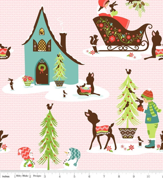 NEW Riley Blake Designs, Alpine Wonderland, Main Pink Fabric - By the Yard