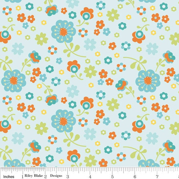 NEW Riley Blake Designs, Dress Up Days,  Floral Aqua Fabric - By the Yard