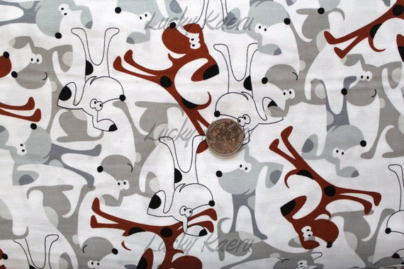 Timeless Treasures Cute Cartoon Dogs White Fabric - By the Yard