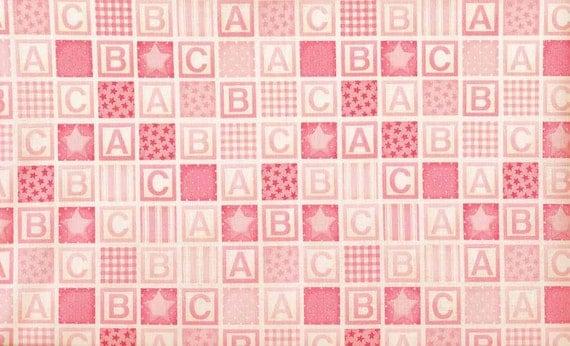 Sale clearance makower uk baby baby girl blocks pink fabric for Baby fabric uk