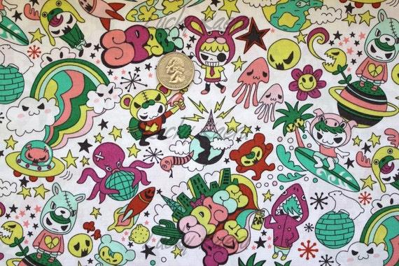 New kawaii anime space surfer white green fabric by the yard for Space fabric by the yard