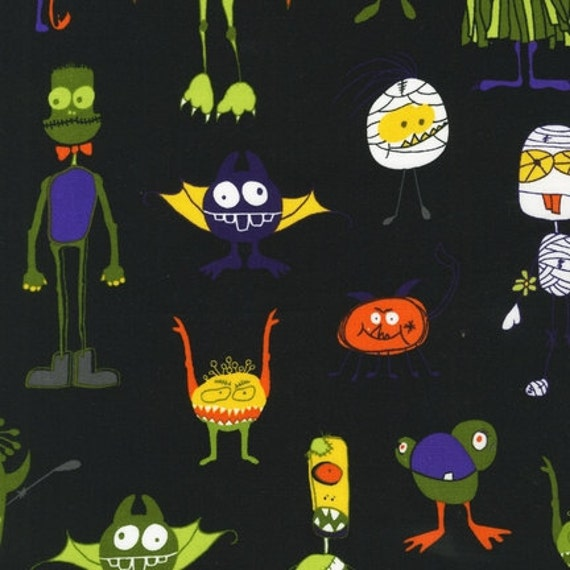 Pink Light Design, Eerie Alley 3, Halloween Monsters on Black Fabric - By the Yard