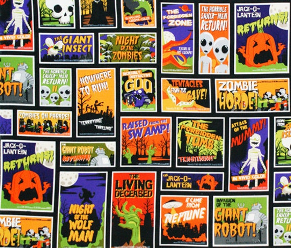 NEW Karen Foster, Eerie Alley 3, Halloween Labels Multi Fabric - By the Yard