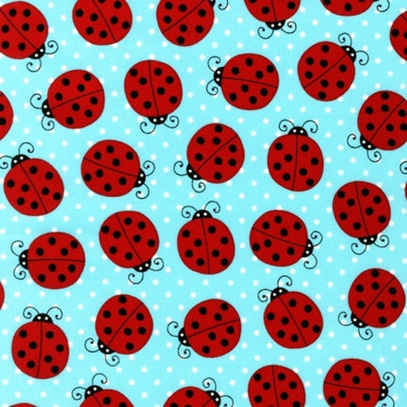NEW Pink Light Design, Picnic Party, Ladybugs Water Fabric - By the Yard