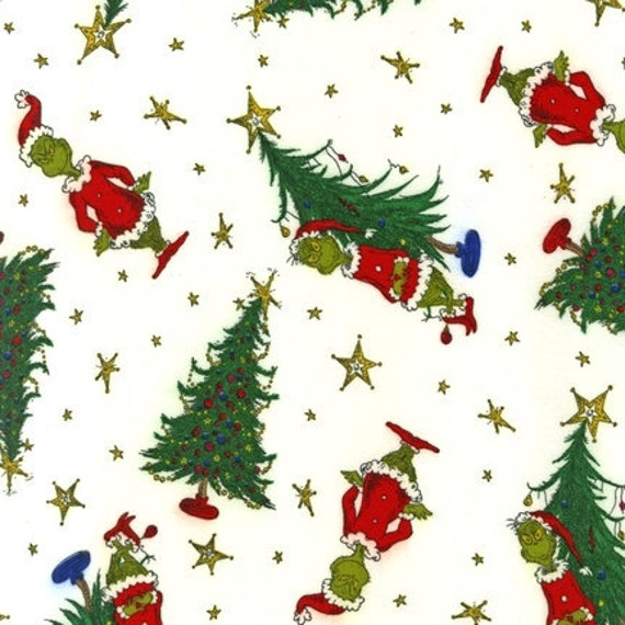 Dr. Seuss, How The Grinch Stole Christmas, Christmas Tree Grinch in Celebration FLANNEL Fabric - By The Yard