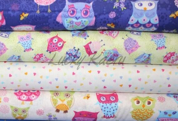 NEW Makower UK, Owls, Half Yard Cotton Fabric Set