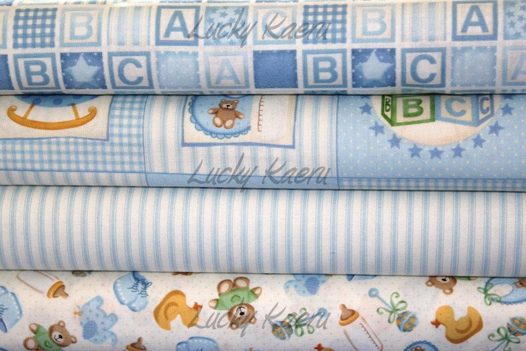 Makower uk baby baby boy blue half yard fabric by for Baby fabric uk