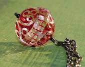 Oxblood Red Necklace Vintage Winter Fashion  Carved Round Pendant Art Nouveau